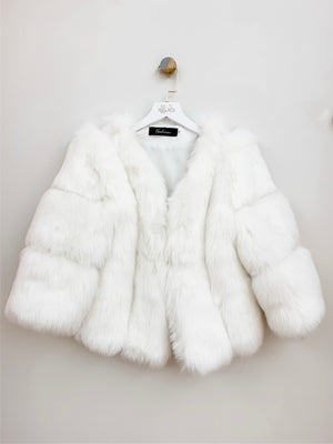 Trophy Wife | White Faux Fur Crop Bridal Jacket