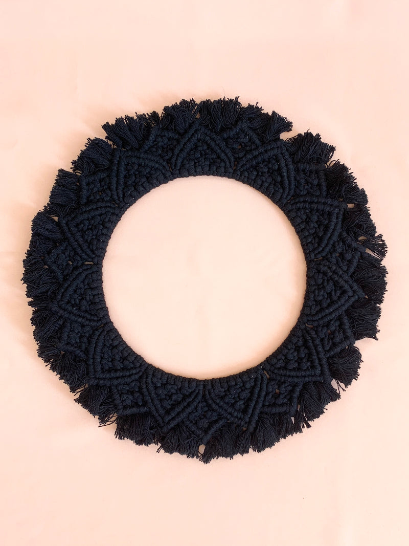 Harmony | Handmade Large Black Macrame Wreath