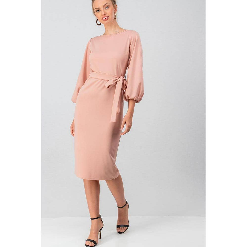 Uptown Girl | Dusty Rose Bishop Sleeve Dress