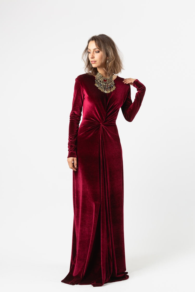 Tie the Knot | Twist Front Stretch Velvet Long Sleeve Dress