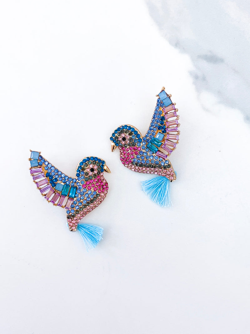 Hummingbird Tassel Stud Earrings