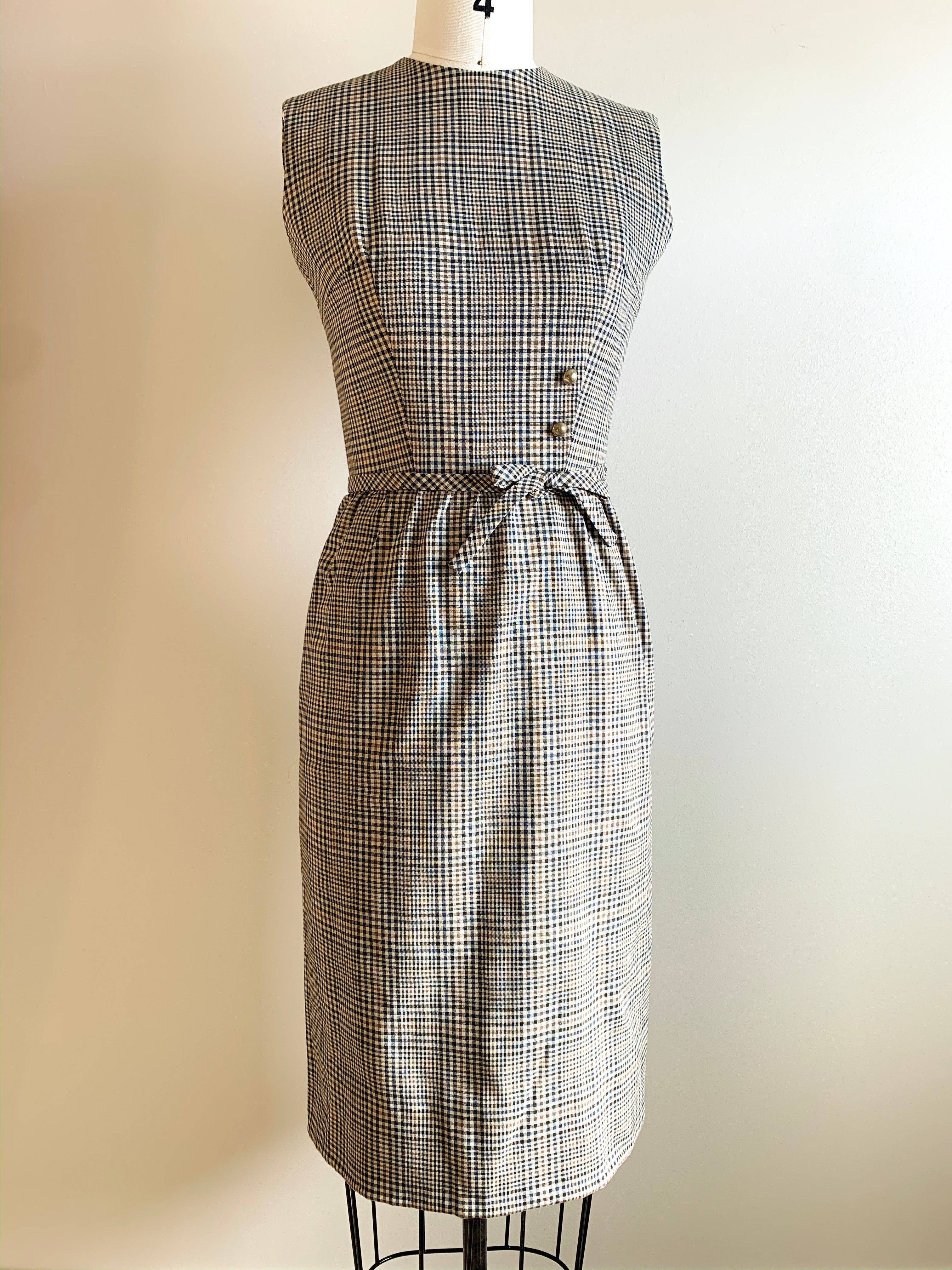 Vintage 1960s Lanz Plaid Wiggle Dress | extra small