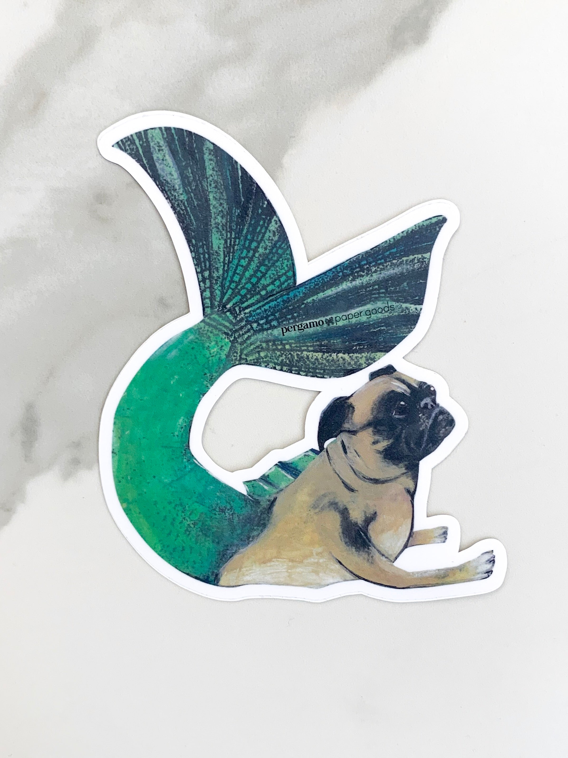 Mermaid Pug Sticker | pergamo paper goods