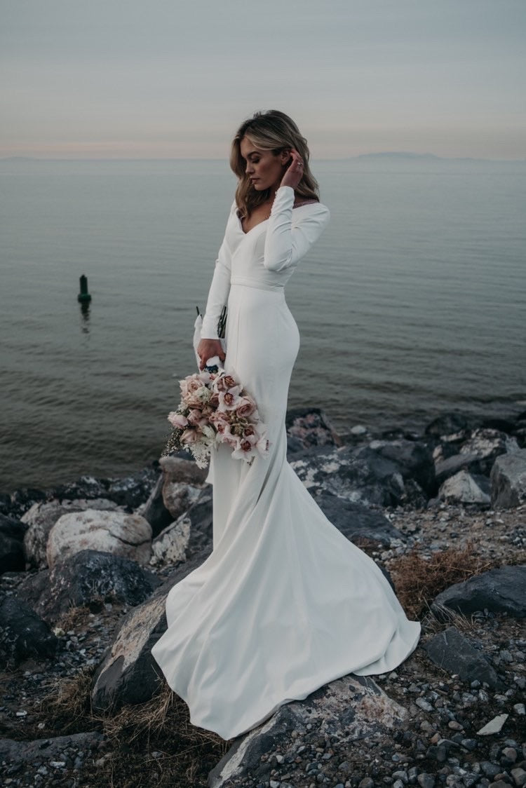 Sophie | Stretch Crepe Long Sleeve Wedding Dress