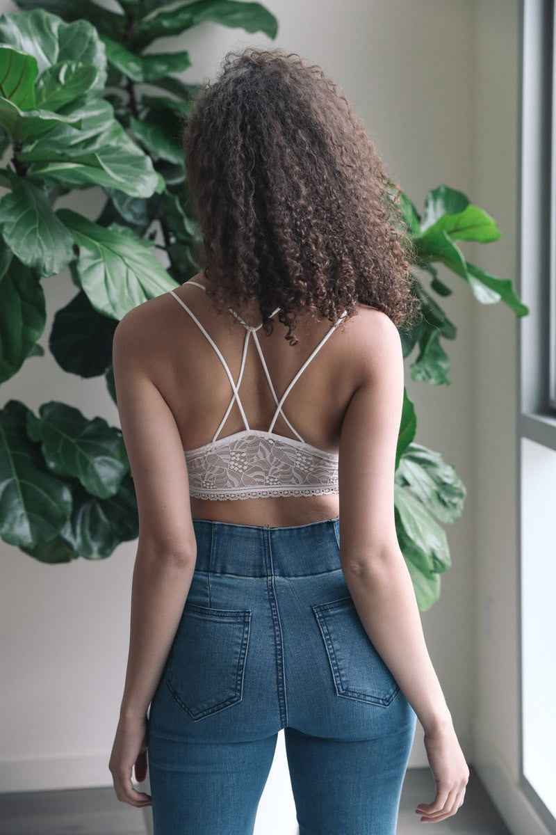 Venessa | White Strappy Back Geometric Lace Bralette