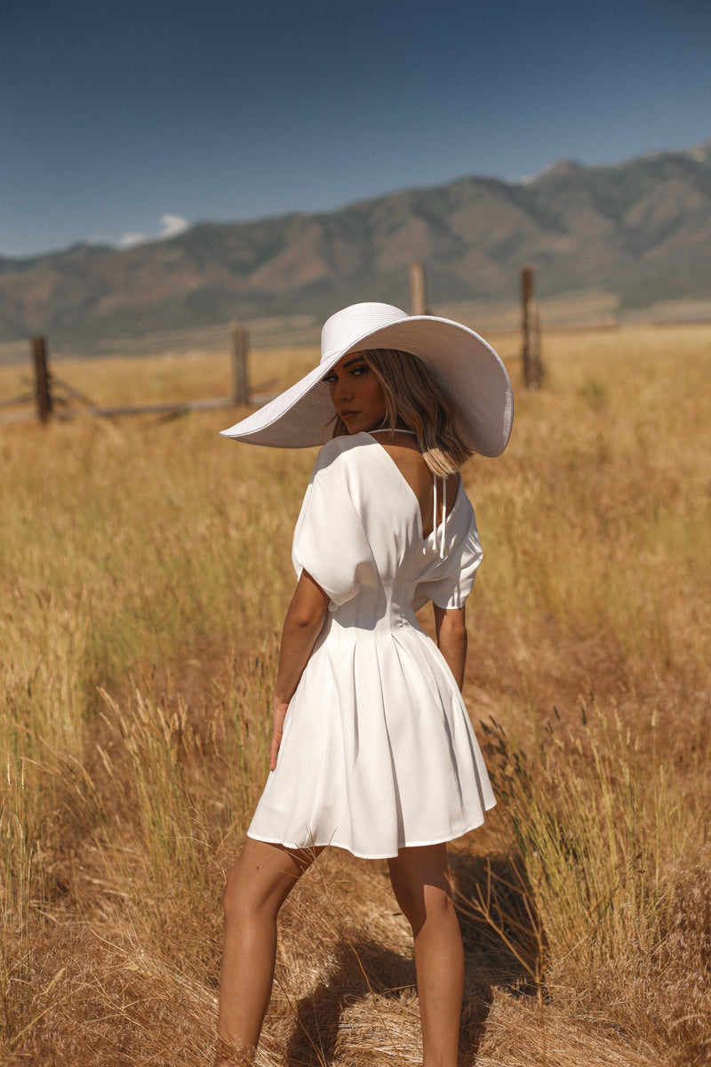 Haute to Trot | Flutter Sleeve White Mini Dress