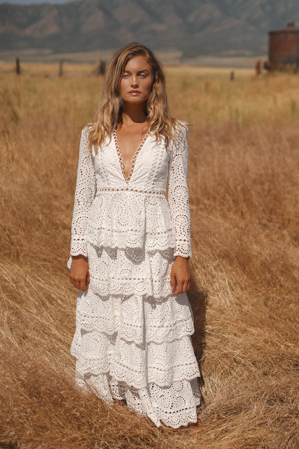 All Daisy Long | Layered Ruffle Cotton Lace Long Sleeve Dress