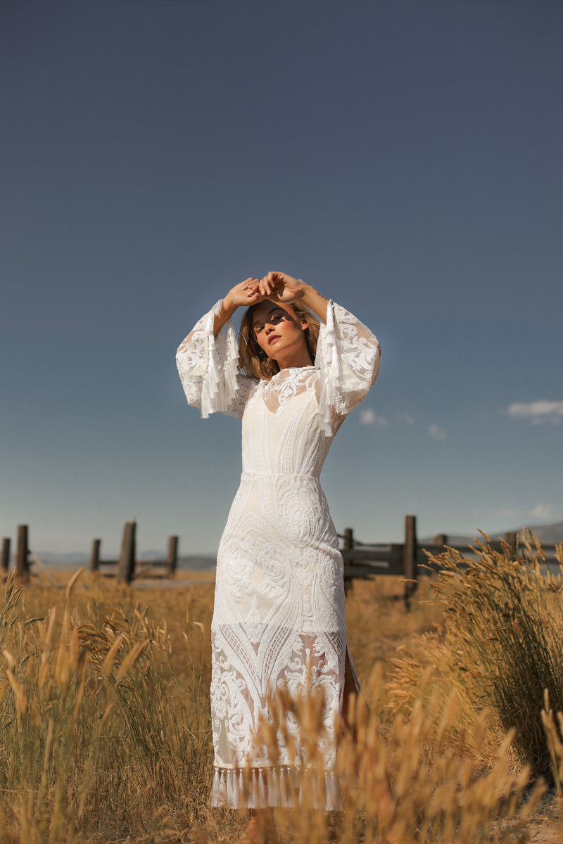 Tangoed in Love | Angel Sleeve Boho Fringe Sequin Dress