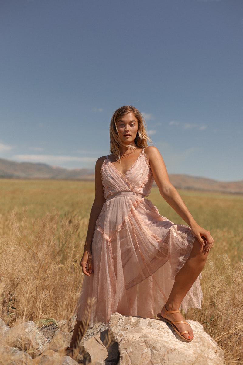 In Full Swing | Dusty Pink Spaghetti Strap Dress