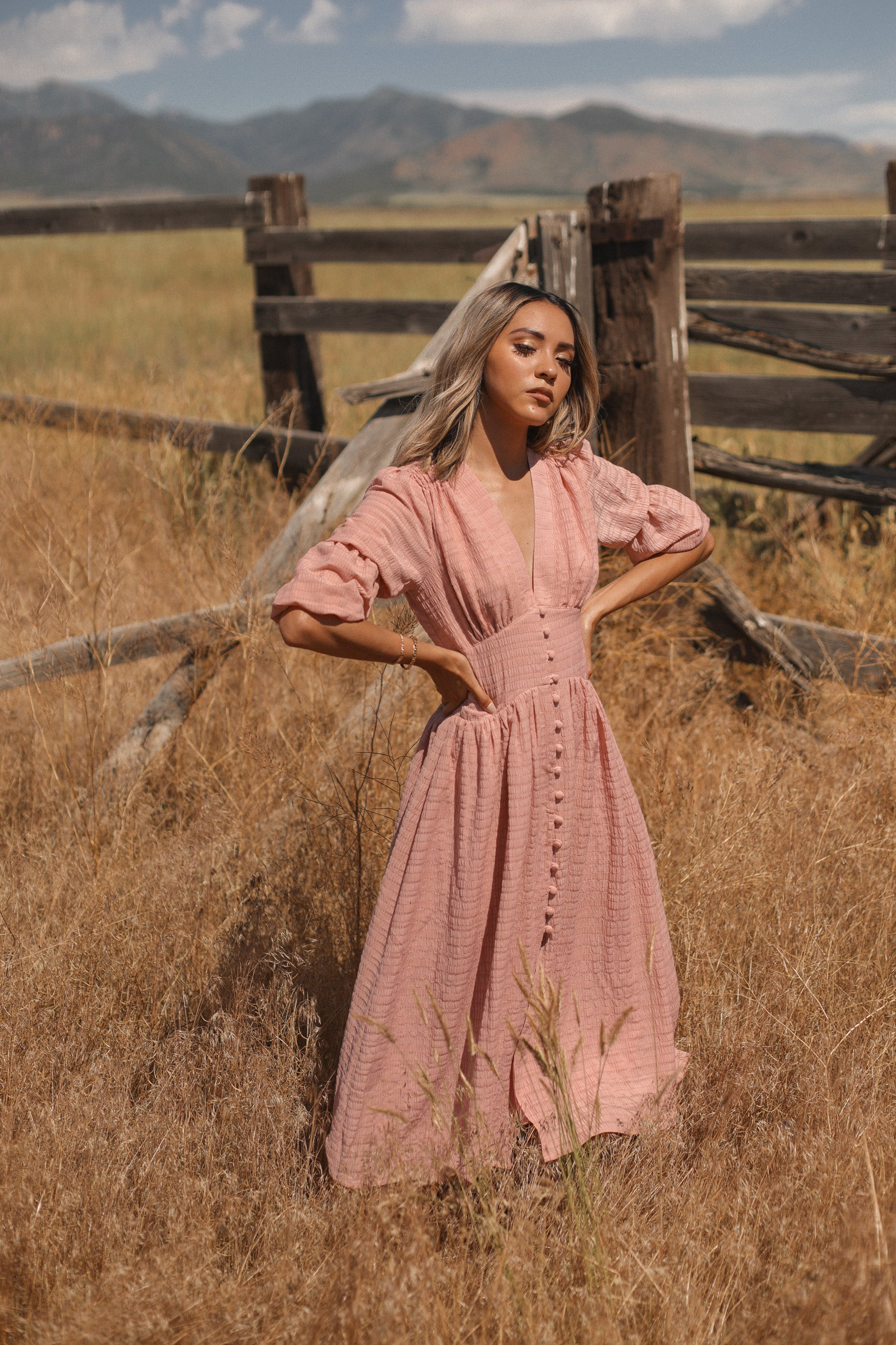 Waitin for the Train | Dusty Pink Tiered Puff Sleeve Dress