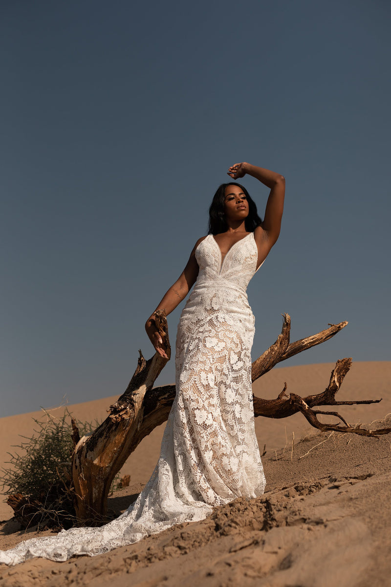 Ezra | boho lace wedding gown