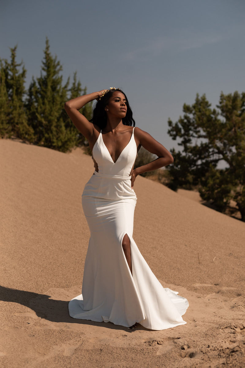 Arizona | crepe cut out wedding gown