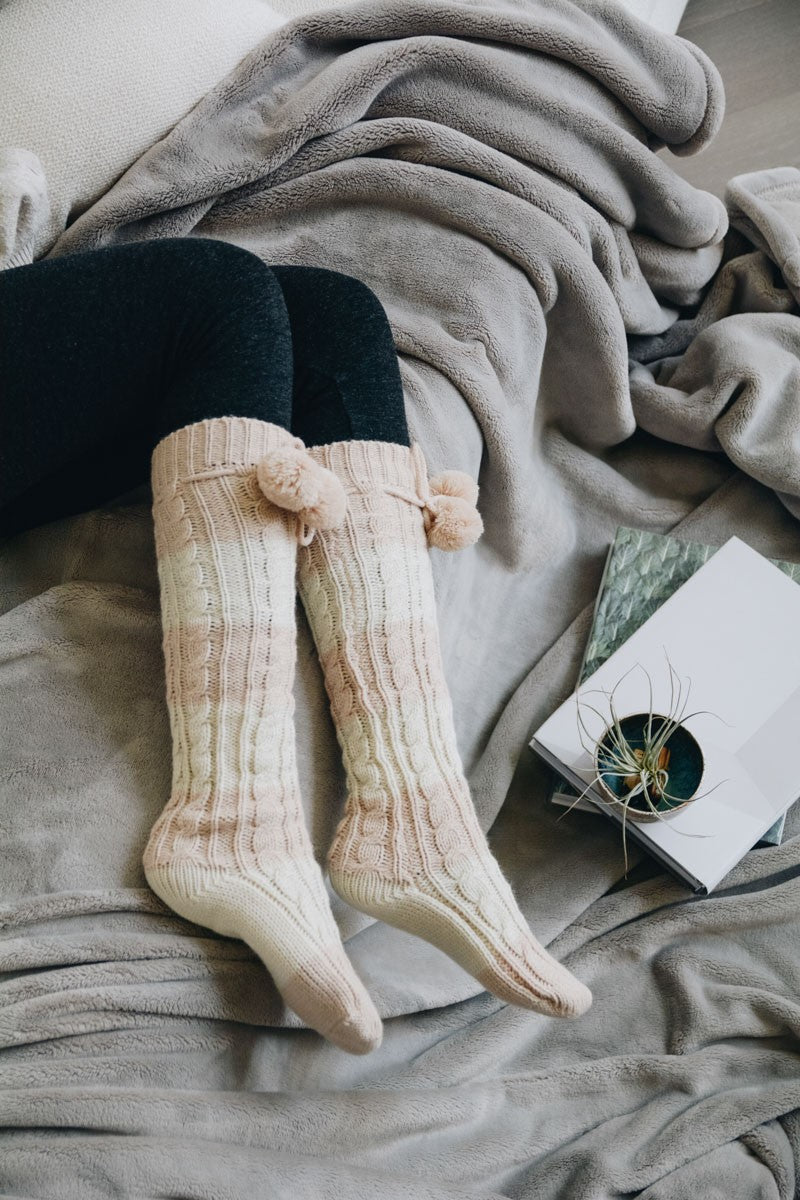 Pippi | Knee High Striped Pom Pom Lounge Socks