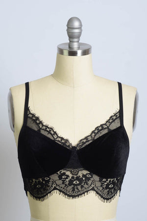 Bordeaux | Black Velvet and Lace Scalloped Bralette