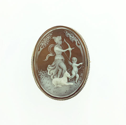 1f40426f00115 9ct Gold Shell Cameo Brooch