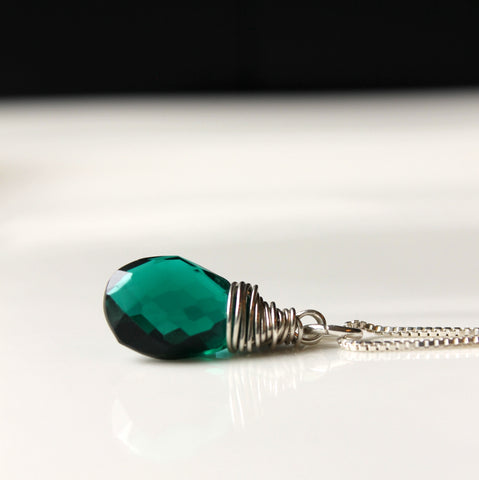 Emerald Green Sterling Silver Necklace
