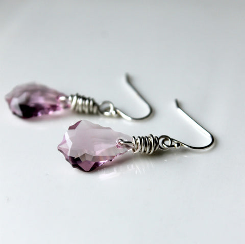 Purple Crystal Sterling Silver Earrings