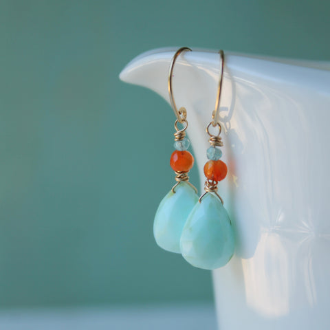 Peruvian Opal and Carnelian Gemstone Earrings