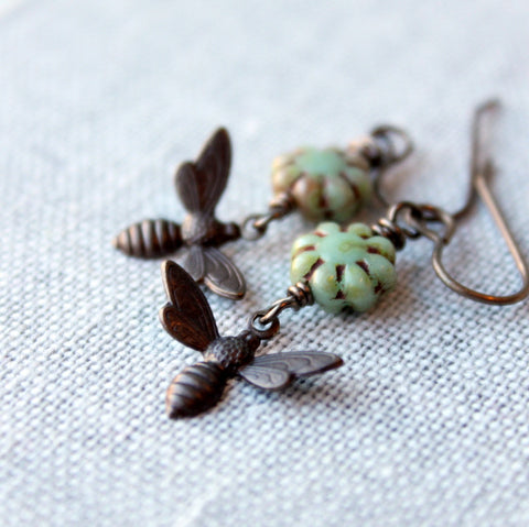Brass Bee Earrings for the Nature Lover