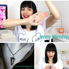 Jenny Winship on YouTube revealing her Wallis Designs necklace from The Artisan Group Bag