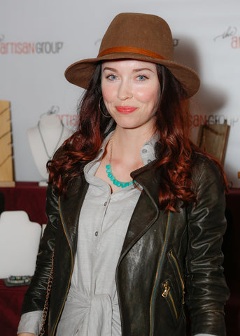 Elyse Levesque wearing gemstone necklace by Wallis Designs of Canada.