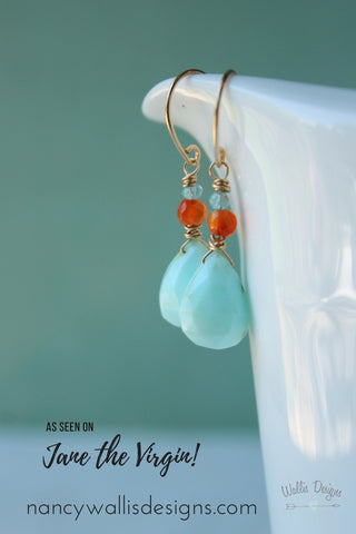 Gemstone Earrings as seen on Jane the Virgin by Nancy Wallis Designs in Canada