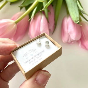 Tiny Cube Stud Earrings