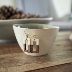 Geometric rectangle earrings wood and white Wallis Designs