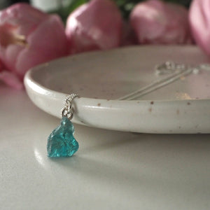 Raw Apatite Silver Necklace