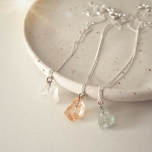 Raw Citrine Silver Necklace