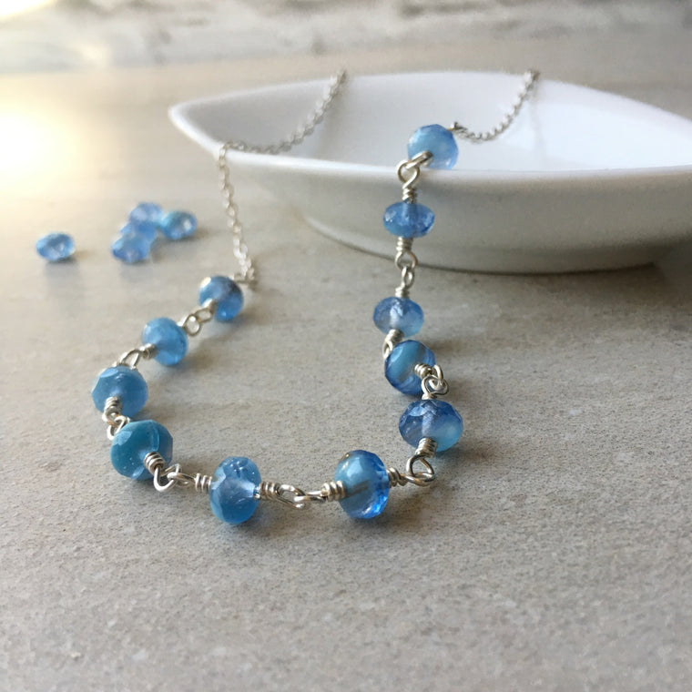 Periwinkle blue glass beaded necklace by Wallis Designs
