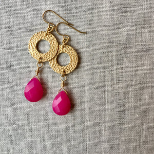 Fuchsia Jade and Brass Statement Earrings by Wallis Designs