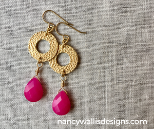 Pink Jade Brass Earrings by Wallis Designs in Canada