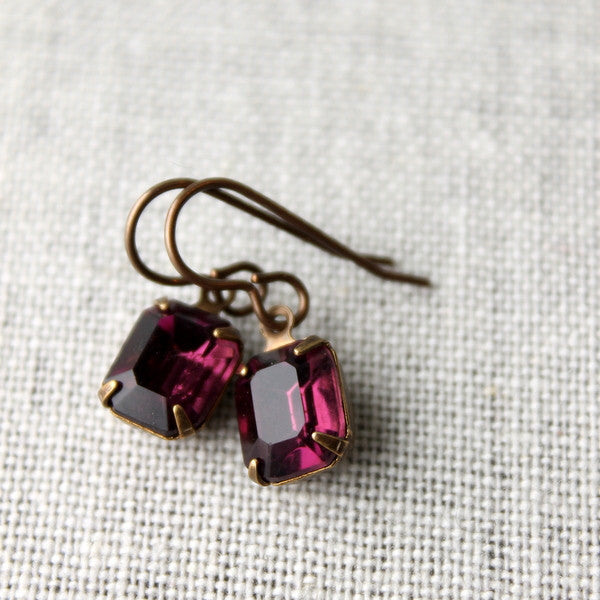 Amethyst Rhinestone Earrings