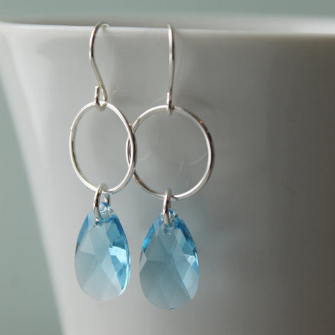Aquamarine Swarovski Crystal Sterling Silver Earrings