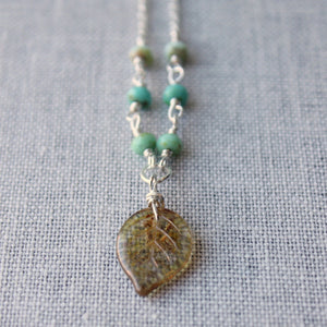 Nature Lover Leaf and Beaded Necklace