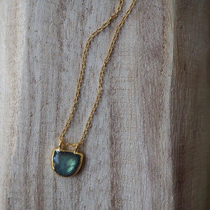 Delicate gold necklace with Labradorite gemstone by Wallis Designs
