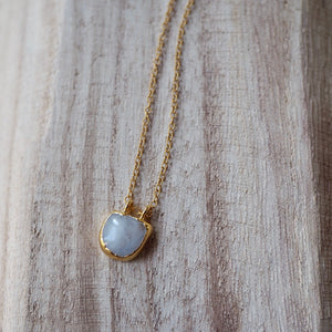 gold necklace with moonstone pendant made in Canada