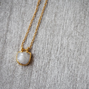 Moonstone Pendant Necklace with 14k gold filled chain