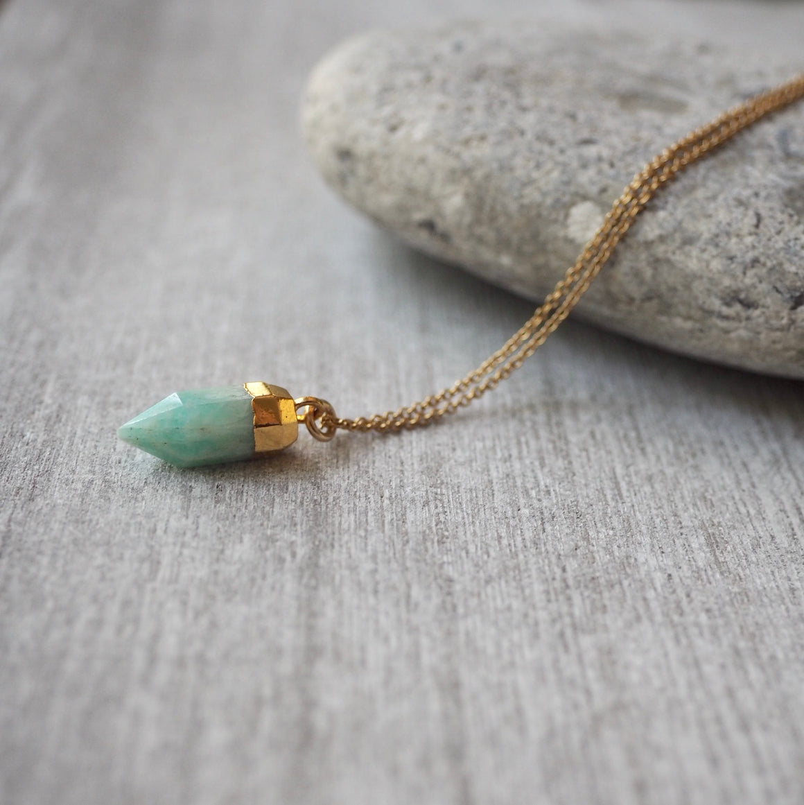 Amazonite Pointed Pendant with 14K gold filled chain