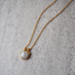 14k gold filled chain with Moonstone gemstone pendant
