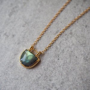 14k gold filled chain with Labradorite gemstone pendant