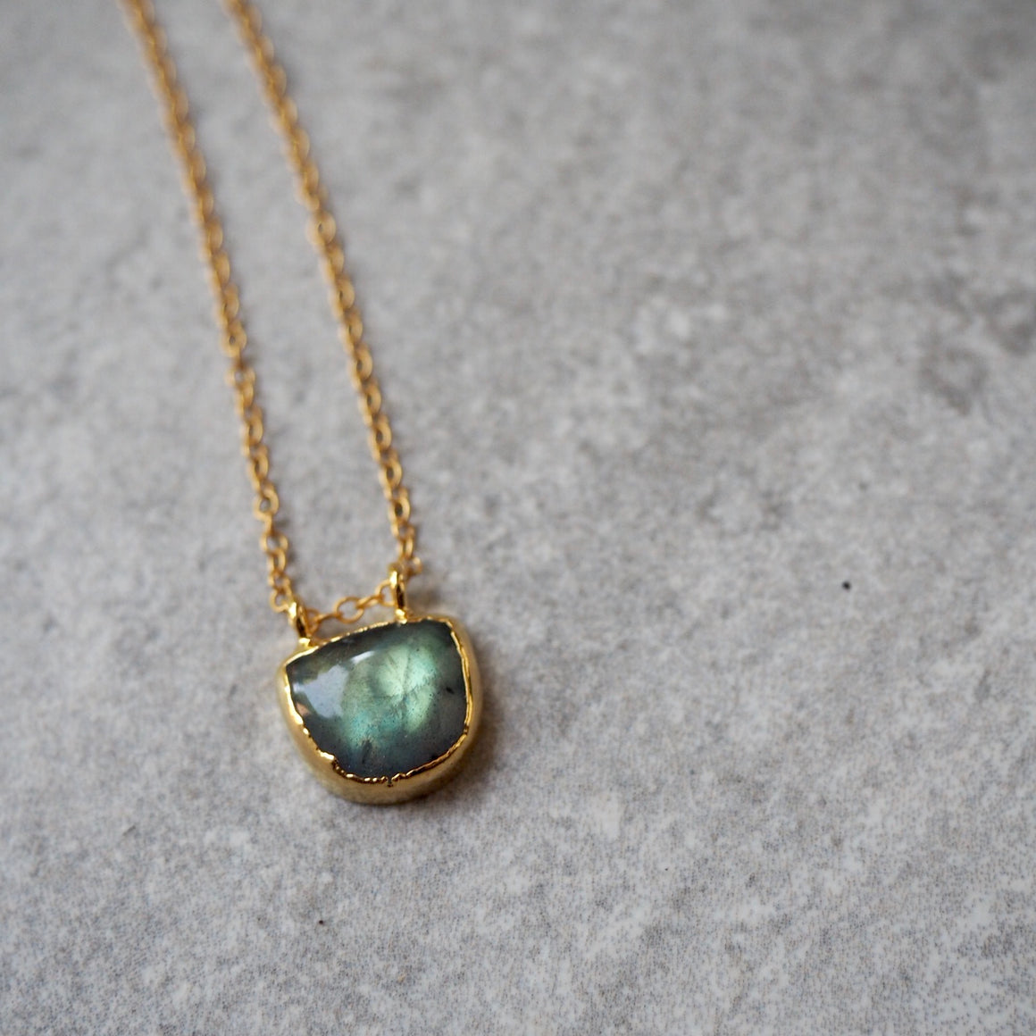 Labradorite gold necklace by Wallis Designs