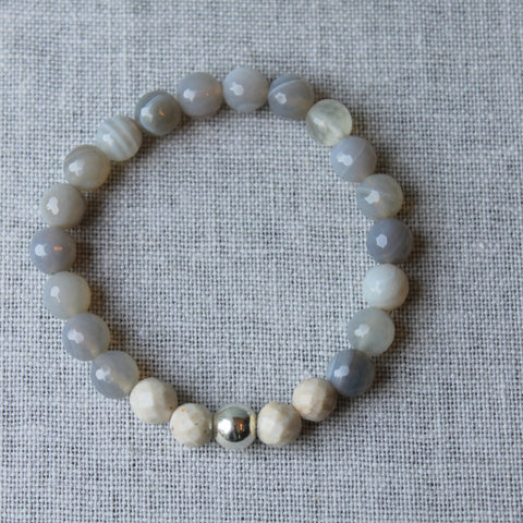 Grey Agate Stone Stretch Bracelet
