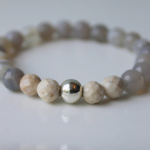 Grey Agate Stone Bracelet Earthy and Refined
