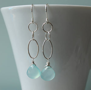 Serene Aqua Silver Drop Earrings