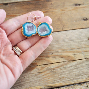 Blue Sliced Agate Gold Earrings I