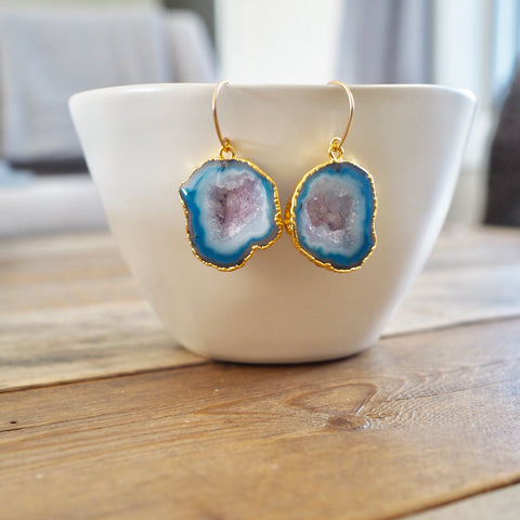 Blue Sliced Agate and 14K gold filled earrings