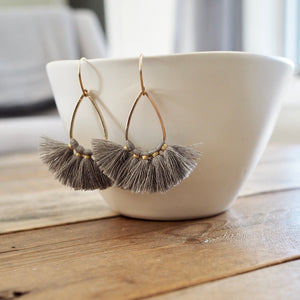Grey Tassel Earrings by Nancy Wallis Designs in Canada