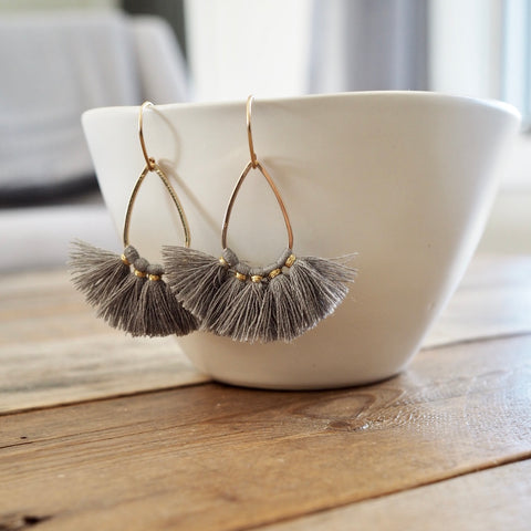 Grey Tassel Earrings by Nancy Wallis Designs